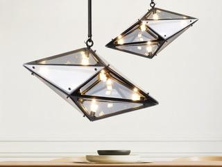 现代简约钻石玻璃客厅吊灯北欧创意餐厅咖啡厅个性艺术设计师灯具 茶色,烟灰 MH-32-2 小号横款