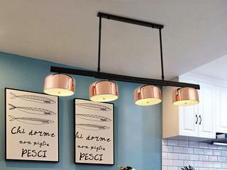 玫瑰金烤漆灯罩 五金电镀拉伸杆 多角度旋转 适用于客厅餐厅卧室 现代风格创意吊灯 玫瑰金  4头