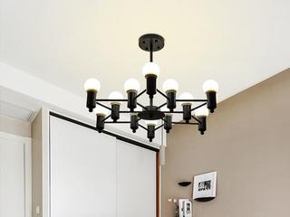 铁艺烤漆灯体 高亮LED龙珠灯泡 精工铁艺灯臂 适用于客厅餐厅卧室书房 现代风格创意吊灯 黑色  12头