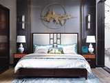 宏宇家私 新中式全实木进口黄杨木 水性漆喷涂 高端中式家具 中式主卧大床婚床轻奢家具 1.5床