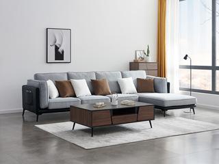 麦考系列 喔木居 麦考系列 现代轻奢风格 高密度海绵填充 舒适透气型布艺 布艺沙发大小户型组合 极简转角沙发(1+3+左贵妃)