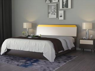 宏宇家私 北欧风尚实木床主卧现代简约经济型1.8米双人床 (此款为普通床 图为高箱)