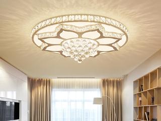 轻奢水晶系列 吸顶灯 水晶莲花500 哑白+水晶 36W 白光