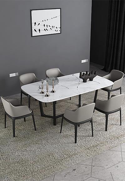 米勒 现代简约 白色大理石 餐桌